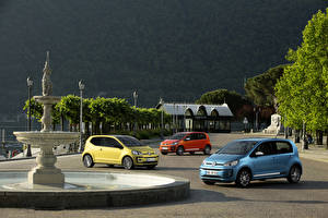 Desktop wallpapers Volkswagen Fountains Houses Three 3 2016 Volkswagen up! 5-door auto Cities