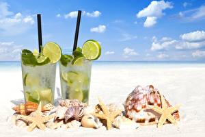 Images Sky Sea stars Drinks Shells Lime Lemonade Highball glass Beach Nature