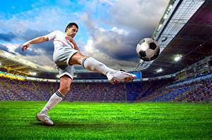 Image Footbal Man Legs Knee highs Ball Lawn Stadium Sport