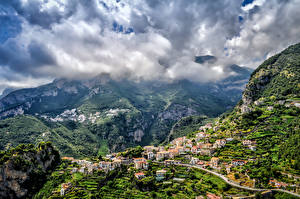 Images Mountain Houses Italy Amalfi Clouds Nature Cities