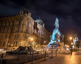 Wallpapers Poland Houses Monuments Krakow Street Night time Street lights Grunwald Monument Cities