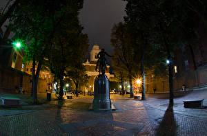 Fotos USA Haus Denkmal Boston Straße Nacht Straßenlaterne Massachusetts