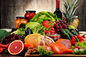 Wallpapers Still-life Cheese Ham Fish - Food Vegetables Fruit Nuts Bottle Food