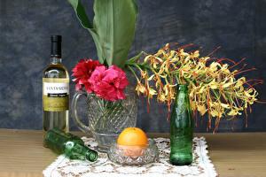 Pictures Still-life Rhododendron Orchids Orange fruit Bottles Mug flower
