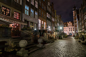 Photo Poland Building Street Night time Stairs Street lights Wisoujcie Cities