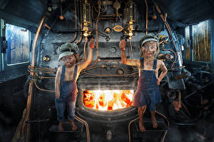 Wallpapers Fire Locomotive Little girls Two Jeans Funny Children Humor