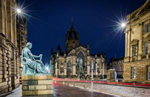Bilder Schottland Gebäude Denkmal Tempel Edinburgh Kathedrale Straße Nacht Straßenlaterne St Giles Cathedral