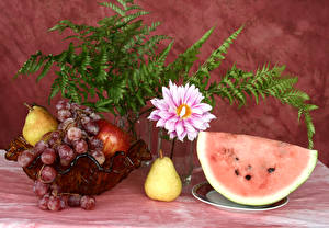Pictures Still-life Watermelons Grapes Pears Dahlias