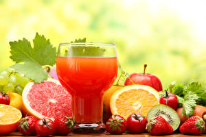 Pictures Juice Fruit Citrus Strawberry Grapefruit Highball glass Food