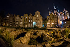 Wallpapers Poland Building Gdańsk Night time Street lights Cities