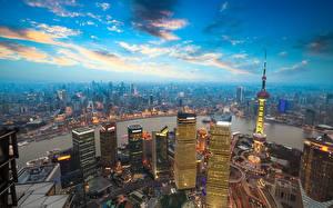 Bilder Himmel Wolkenkratzer Haus Shanghai China Von oben Megalopolis Jinmao Tower Städte