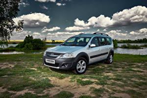 Wallpaper Lada Russian cars Silver color Metallic Clouds 2014-16 Largus Cross