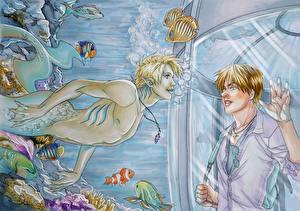 Wallpapers Underwater world Mermaids Two Fantasy