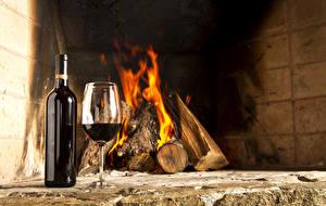 Wallpapers Wine Bottle Stemware Fireplace Bonfire Food