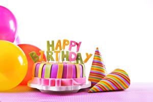 Images Birthday Cakes Holidays White background Food