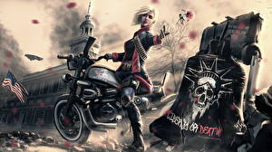Pictures Painting Art Motorcyclist Blonde girl Fantasy Girls