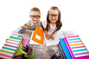 Wallpaper Boys Little girls 2 Glasses Books Smile Children