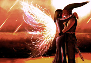 Wallpaper Love Couples in love Elves Painting Art Two Fantasy