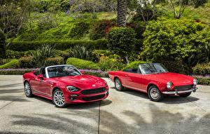 Pictures Fiat Retro Two Red Metallic Convertible  auto