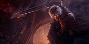 Papel de Parede Desktop Devil May Cry Homem Dante Espadas Dante Tribute with Nero's sword Fantasia
