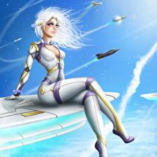 Bilder Flugzeuge Blondine Sitzend Uniform Fantasy Mädchens
