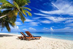 Hintergrundbilder Himmel Sommer Meer Tropen Strand Sonnenliege Natur