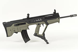 Pictures Assault rifle White background Tavor TAR-21 Army