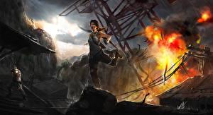 Bureaubladachtergronden Tomb Raider 2013 Explosie Boogschutters Lara Croft videogames Jonge_vrouwen