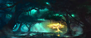 Photo Fantastic world Swamp Trees Fantasy