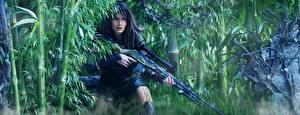Hintergrundbilder Soldaten Scharfschützengewehr Bambus Scharfschütze Heer Mädchens
