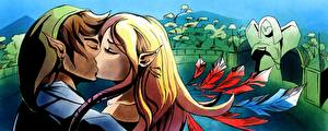 Image The Legend of Zelda Couples in love Elf 2 Young man Skyward Sword In The End vdeo game Girls
