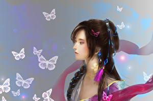 Fonds d'écran Papilionoidea Asiatique Cheveux noirs Fille Fantasy Filles