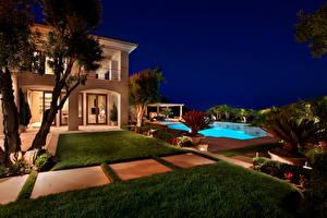 Wallpaper USA Villa Pools Lawn Night Fair Harbor Cities