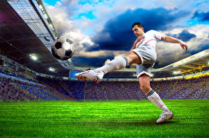 Pictures Footbal Man Ball Legs Knee highs Grass Lawn Stadium Sport