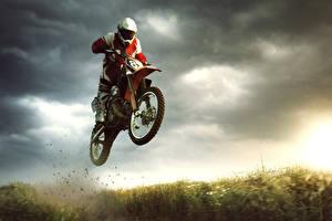 Wallpapers Motorcyclist Helmet Jump athletic