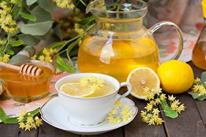 Photo Drinks Lemons Honey Lemonade Cup Pitcher Food