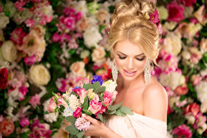 Wallpaper Bouquet Jewelry Blonde girl Earrings young woman
