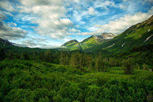Photo USA Mountains Forests Sky Landscape photography Alaska Clouds Chugach National Forest Nature