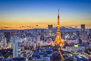 壁纸、、東京都、日本、建物、朝焼けと日没、メガロポリス、都市