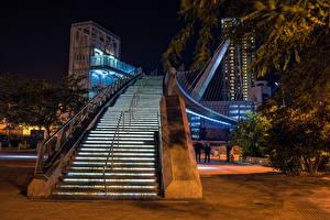 Bilder Vereinigte Staaten Brücken San Diego Stiege Nacht Pedestrian Bridge