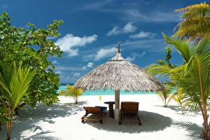 Fotos Tropen Himmel Sonnenliege Strand Natur