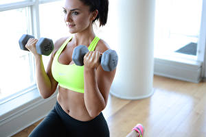 Pictures Fitness Dumbbells Hands Belly Sport Girls