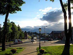Bakgrunnsbilder Litauen Bygninger Himmelen Gate Gatelykter Telsiai