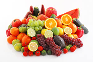Wallpapers Fruit Vegetables Grapes Citrus Apples Tomatoes Watermelons White background