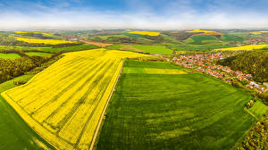 Pictures Czech Republic Fields Building From above Hradcovice Nature