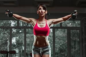 Bilder Fitness Bauch Hantel Trainieren Mädchens