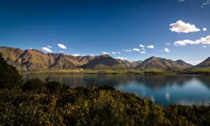 Picture New Zealand Lake Mountain Sky Mount Nicholas Otago Nature