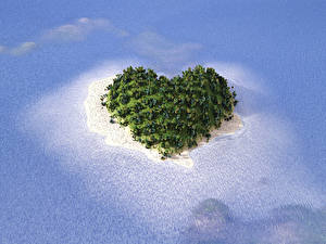 Image Sea Island Heart 3D_Graphics