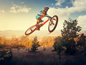 Pictures Sky Bicycle Helmet Jump Sport