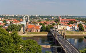 Bakgrunnsbilder Litauen Bygning Elver Elv En bro Kaunas Militærvesen